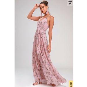 Lulu's Mauve Pink Floral Maxi Dress